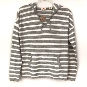 Levi's Oversized Hooded Crewneck Striped Sweater